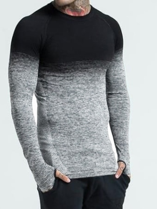 Round Neck Gradient Casual Wrapped Men's T-shirt