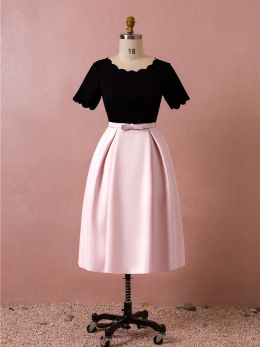 A-Line Tea-Length Bowknot Short Sleeves Homecoming Dress