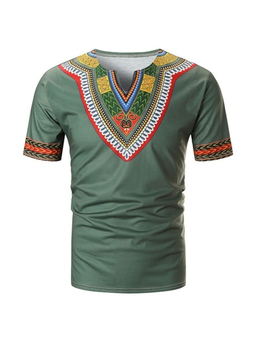 Ethnic Short Sleeve Color Block Men's T-shirt