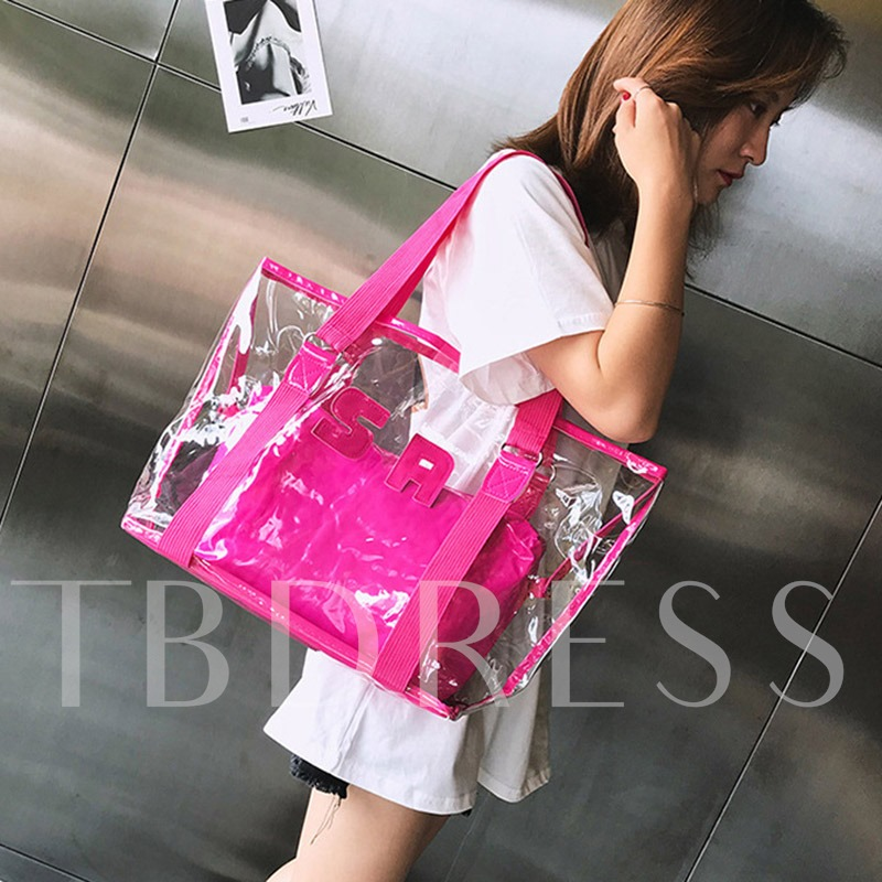 Applique ABS Plastic Letter Square Tote Bags