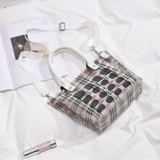 Plaid Print Barrel-Shaped Tote Bags
