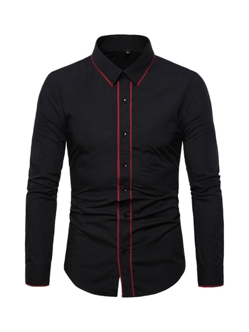 Casual Color Block Lapel Spring Men's Shirt