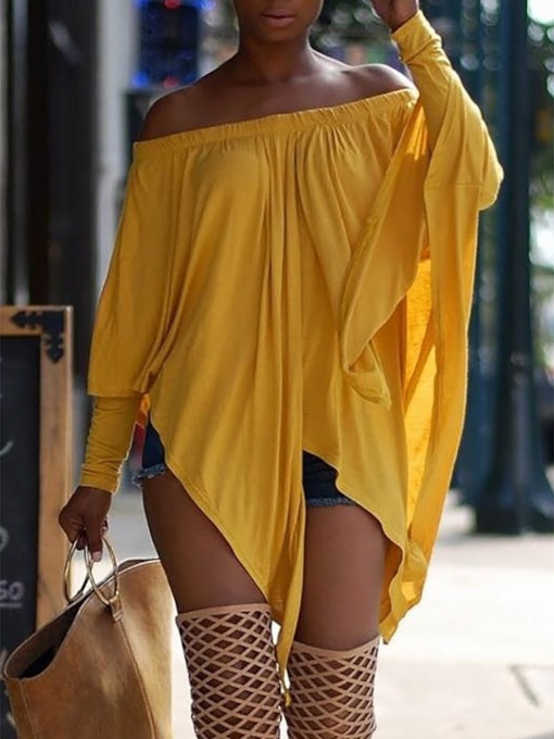 Mid-Length Asymmetric Plain Off Shoulder African Fashion Women's T-Shirt