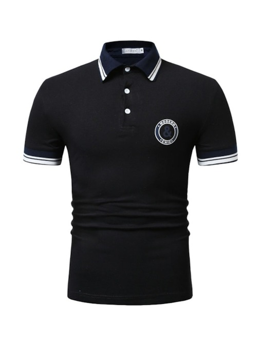 Casual Patchwork Polo Neck Letter Men's Polo Shirt