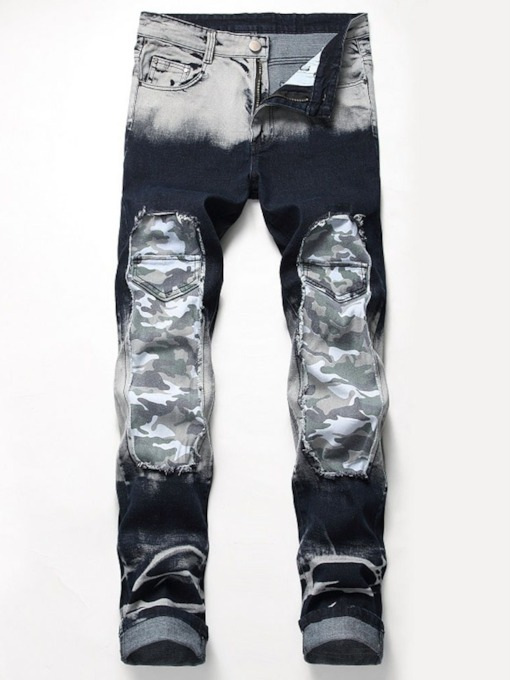 Straight Patchwork Camouflage Mid Waist Men's Jeans