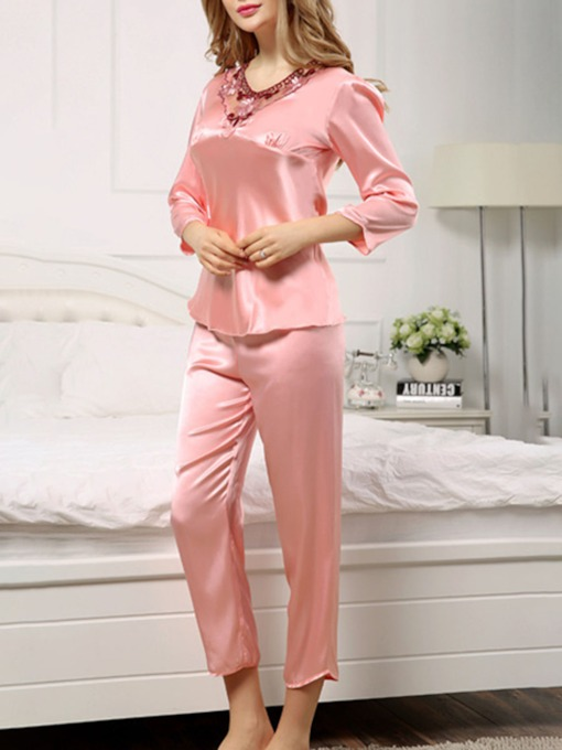 Casual Embroidery Floral Women's Sleepwear Pajama Set 2 Pieces