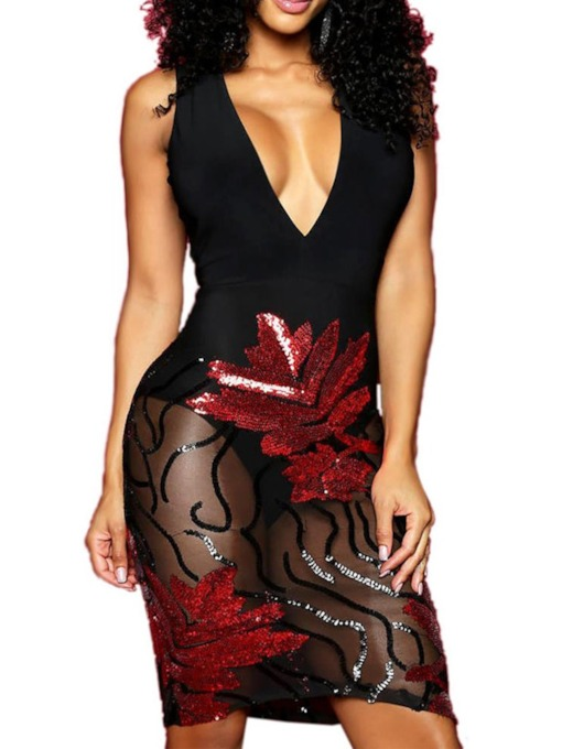 Sequins Sleeveless Backless V-Neck Women's Bodycon Dress