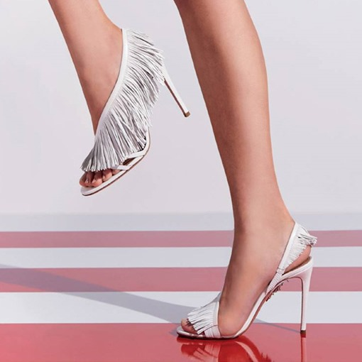 Stiletto Heel Open Toe Slip-On Fringe Sexy Dancing Sandals