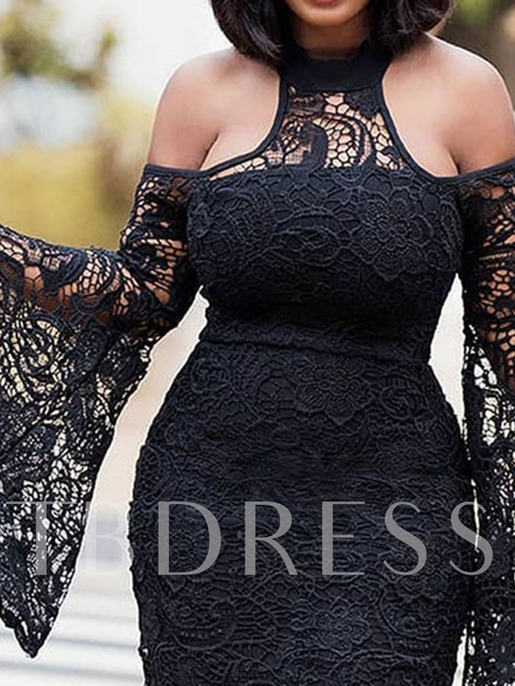 Long Sleeve Lace Plain Hollow Women's Lace Dress