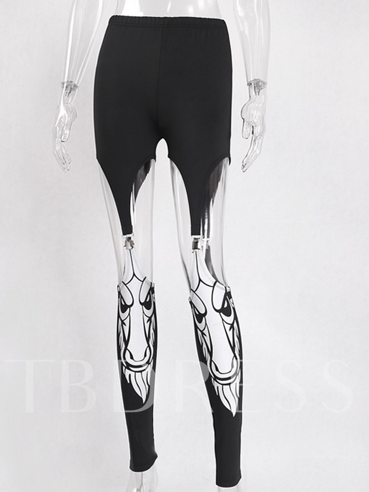 Halloween Costume Skinny Print Full Length Women's Casual Pants