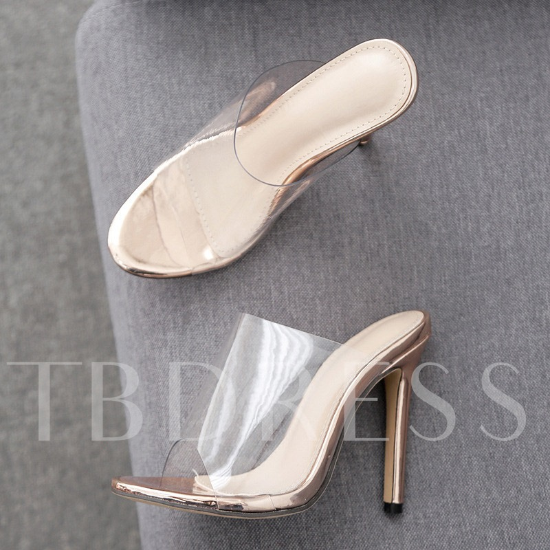 Stiletto Heel Slip-On Plain Women's Slippers