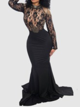 Hollow Backless Long Sleeve Women's Lace Dress