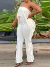 Plain Full Length Backless Slim Women's Jumpsuit