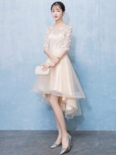 Scoop A-Line Lace Half Sleeves Homecoming Dress 2019