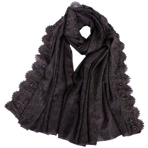 Solid Color Pearl Beading Lace Cotton Scarf