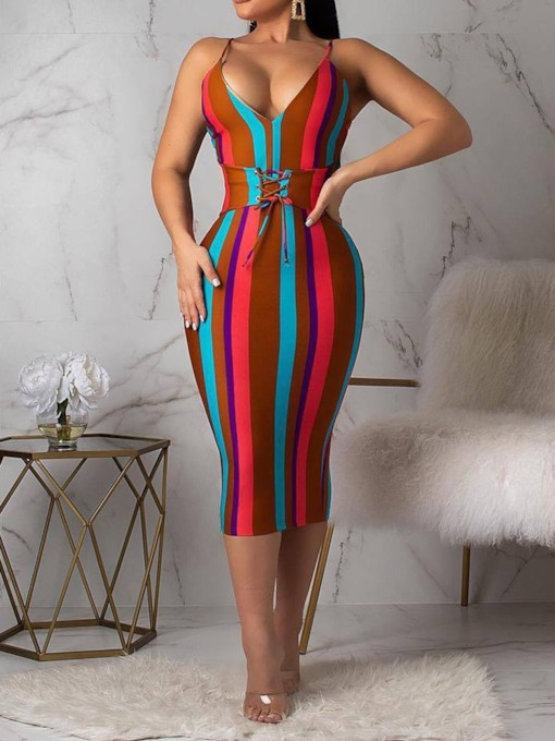 Backless V-Neck Sleeveless Summer Women's Bodycon Dress