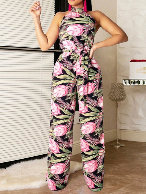 Vest Sexy Floral Backless Wide Legs Women's Two Piece Sets