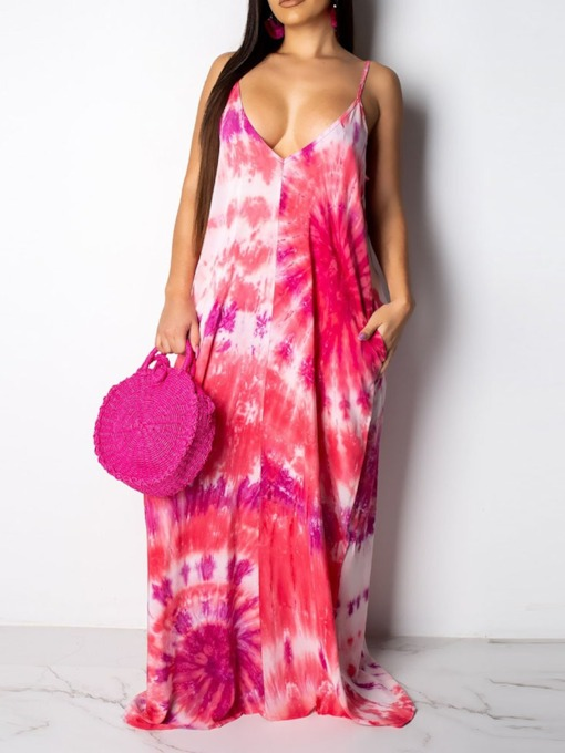 Print Spaghetti Strap V-Neck Travel Look Women's Maxi Dress