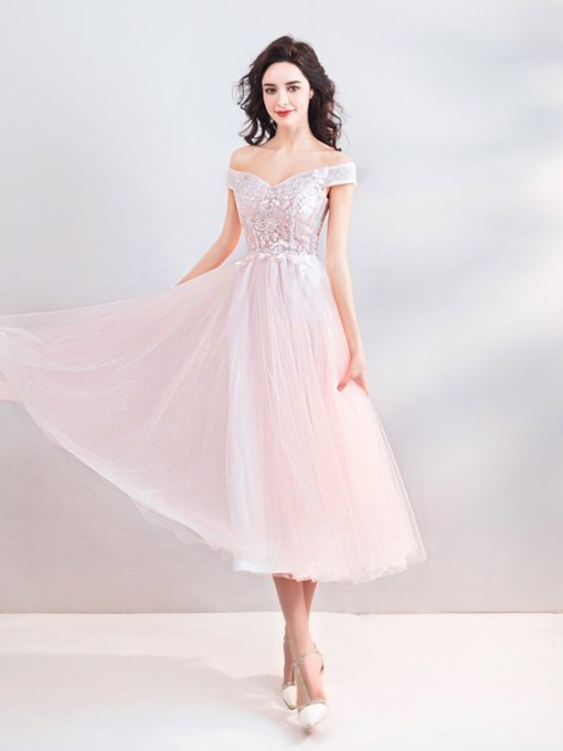 A-Line Off-The-Shoulder Tea-Length Short Sleeves Prom Dress 2021