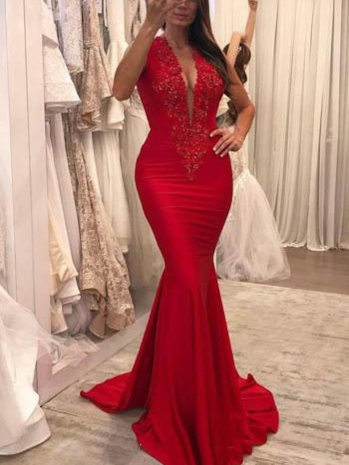 Brush Train Floor-Length Appliques V-Neck Evening Dress 2019