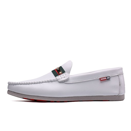 Color Block Flat Heel Slip-On Low-Cut Upper PU Men's Loafers