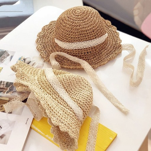 Ventilate Hand-Made Ribbon Decorated Straw Sun Hat