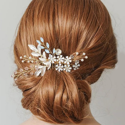 Floral E-Plating Beading Wedding Hair Comb