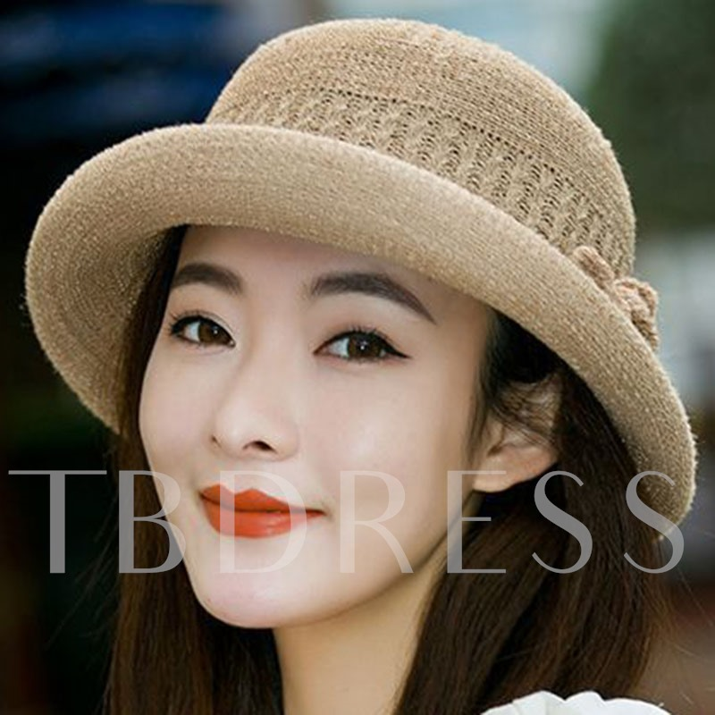 Beige Bucket Bowknot Decorated Sun Hat