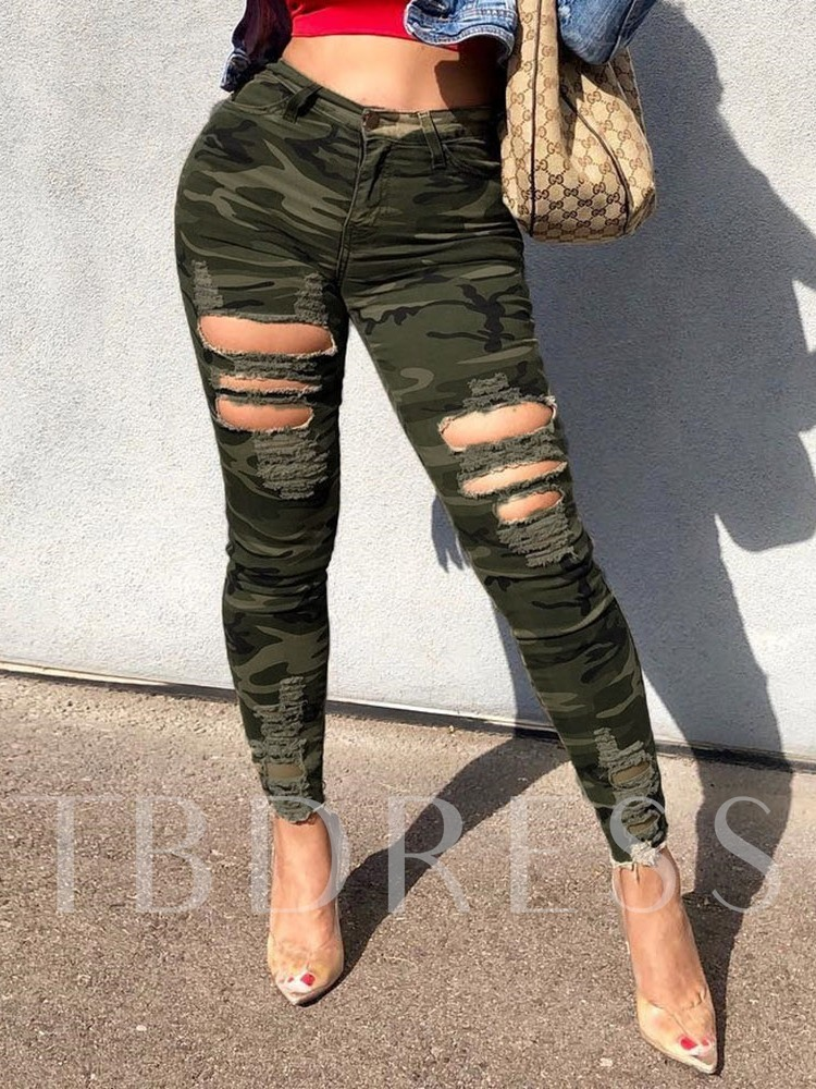 Hole Skinny Camouflage Full Length Women's Casual Pants