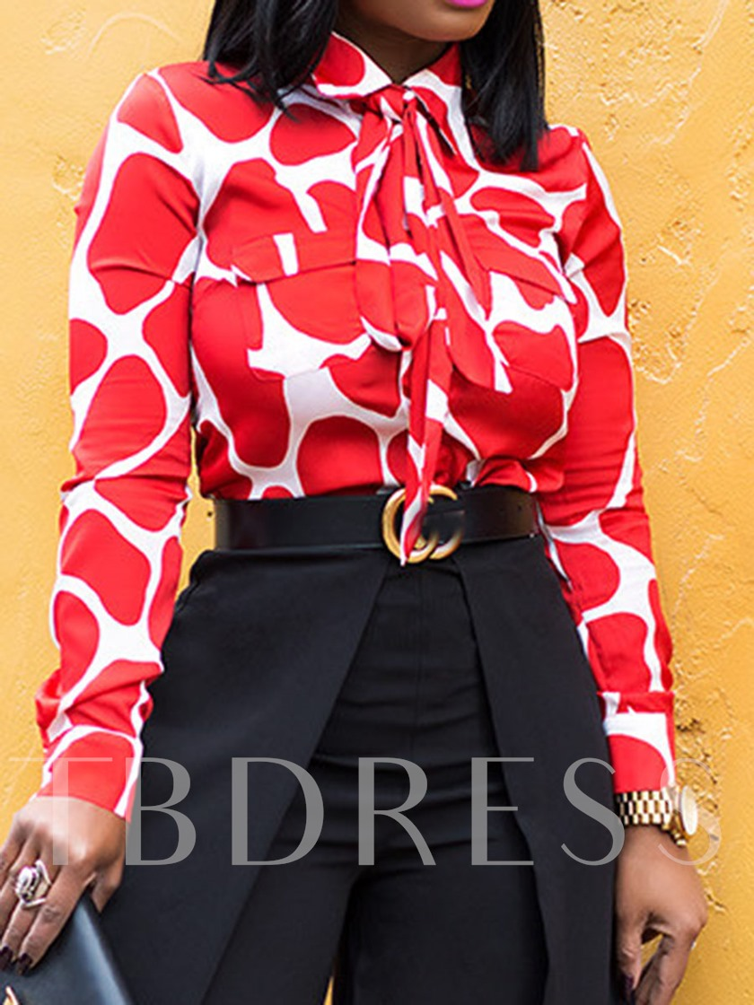 African Fashion Lapel Print Color Block Long Sleeve Women's Blouse