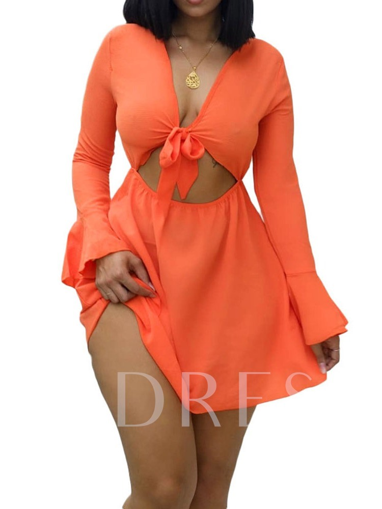 V-Neck Hollow Summer Lace-Up Women's Long Sleeve Dress