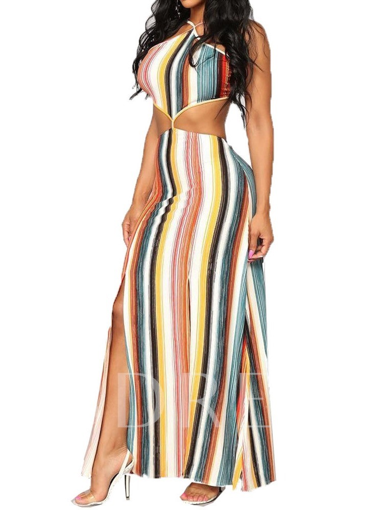 Sleeveless Stripe Hollow Halter Backless Women's Maxi Dress