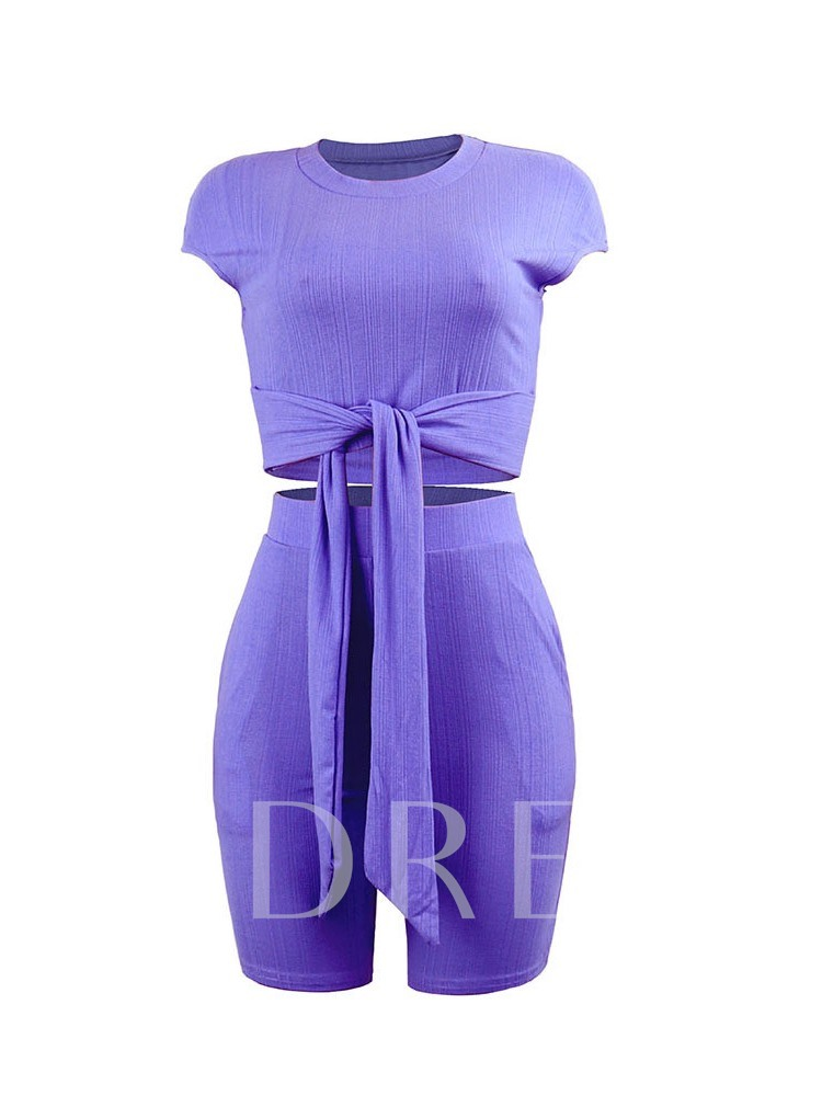 Western T-Shirt Plain Bowknot Round Neck Women's Two Piece Sets