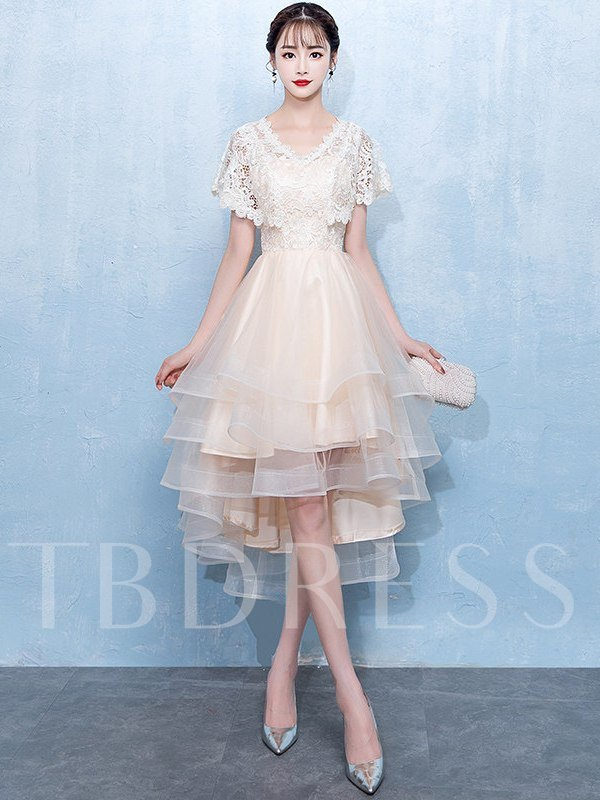 Short Sleeves Lace A-Line V-Neck Homecoming Dress 2019