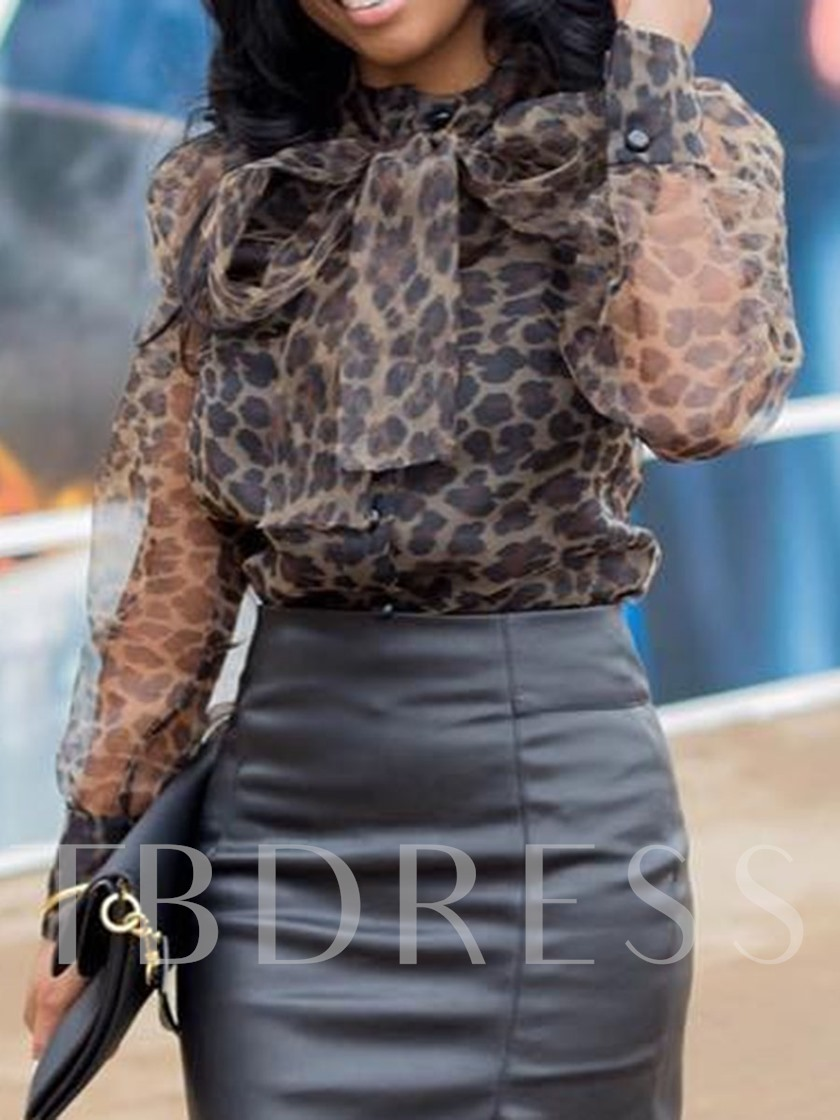 Lace-Up Lantern Sleeve African Fashion Leopard Standard Women's Blouse