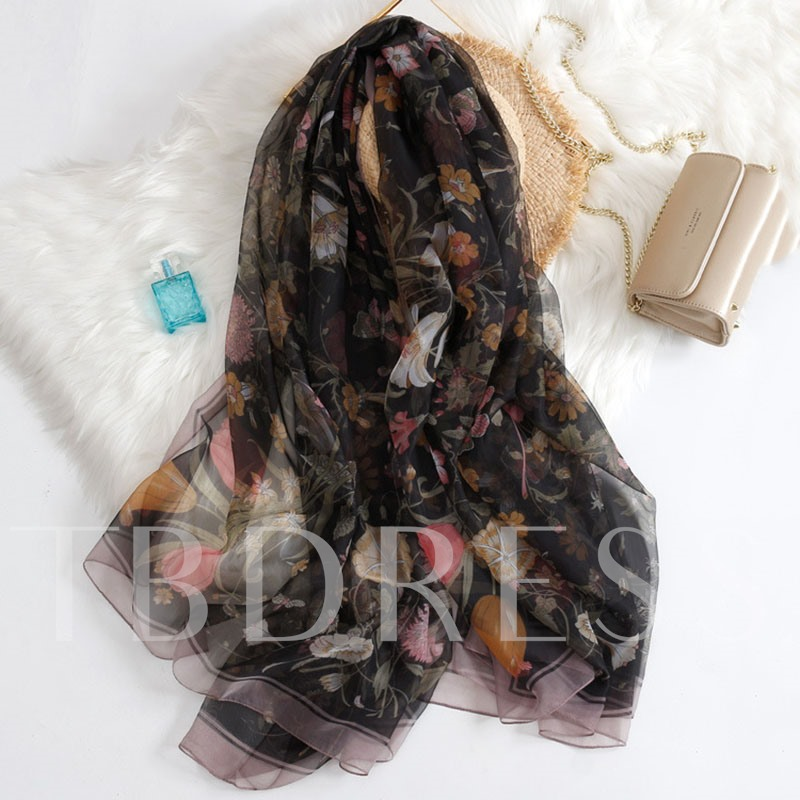 Floral Print Charmeuse Soft Summer Lady Scarf