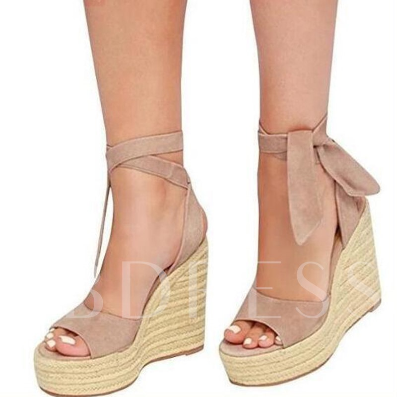 Heel Covering Lace-Up Wedge Heel Open Toe Women's Sandals