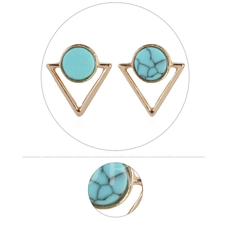 Turquoise Decorated Triangle Alloy Party Drop Earrings