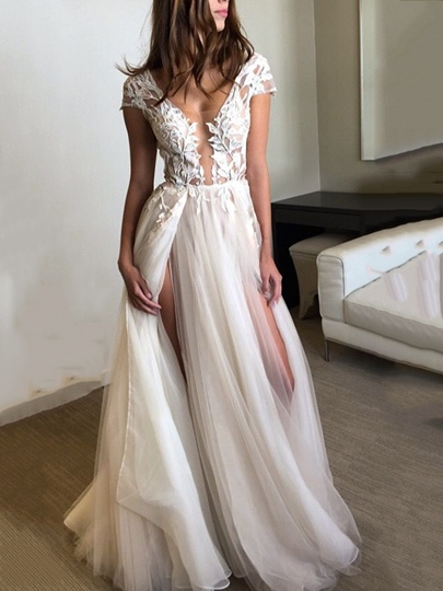 Cap Sleeves Appliques Split-Front Beach Wedding Dress 2019 Cap Sleeves Appliques Split-Front Beach Wedding Dress 2019