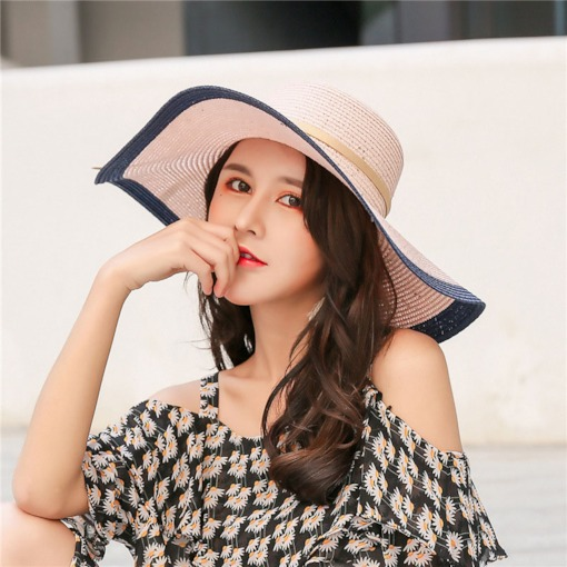Straw Hat Sweet Bowknot Color Block Hats