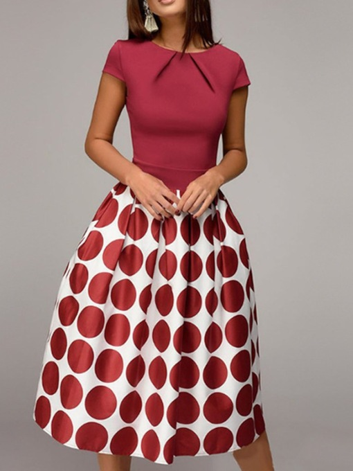 Print Short Sleeve Round Neck Polka Dots Women's Day Dress