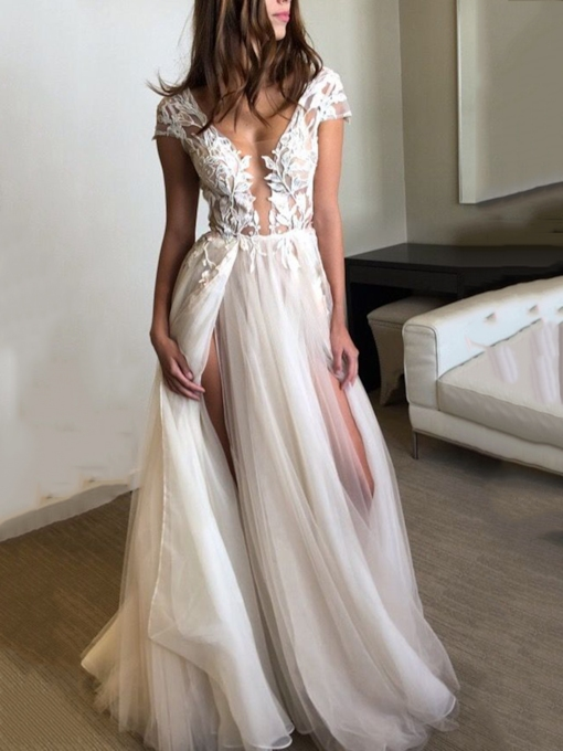 Cap Sleeves Appliques Split-Front Beach Wedding Dress