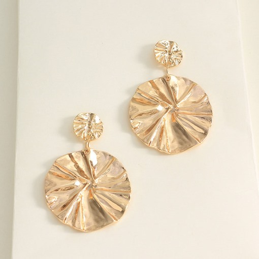 Shiny Golden Metal Round Party Drop Earrings