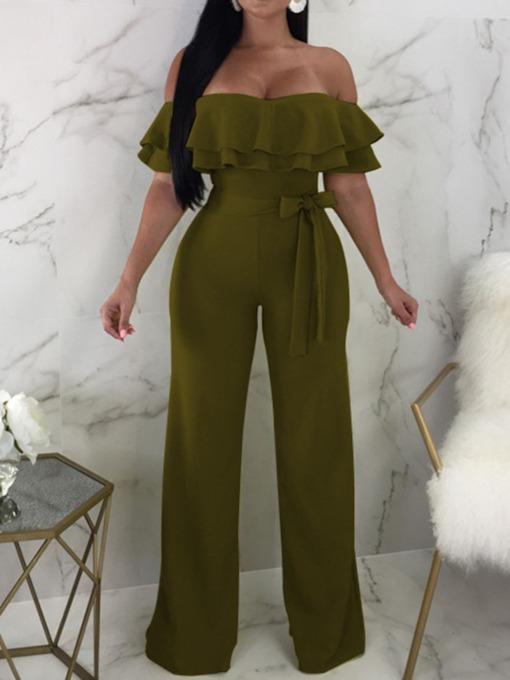 Fashion Full Length Plain Falbala High Waist Women's Jumpsuit