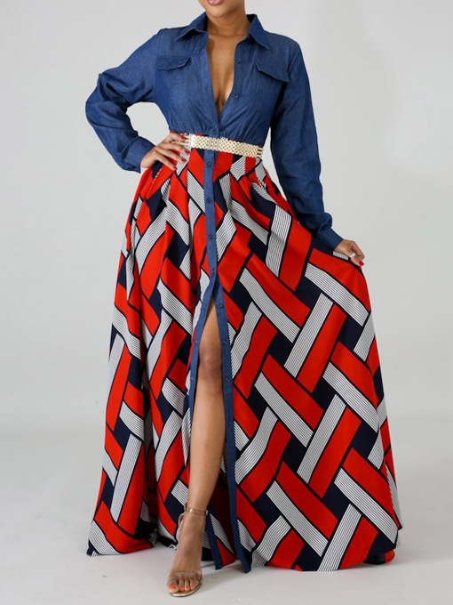 Long Sleeve Patchwork Lapel Color Block Women's Maxi Dress