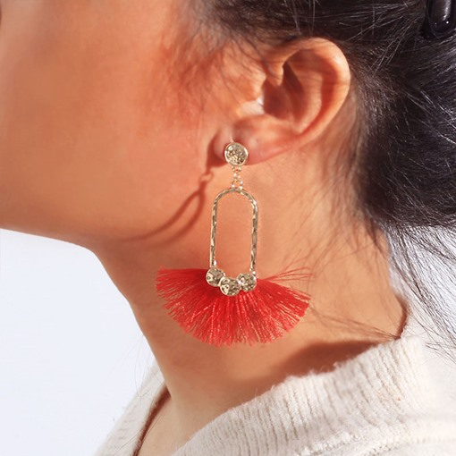 Clip Shape Red Tassel Bohemia Earrings