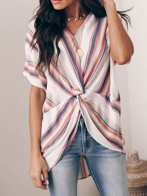 V-Neck Pleated Stripe Short Sleeve Women's Blouse
