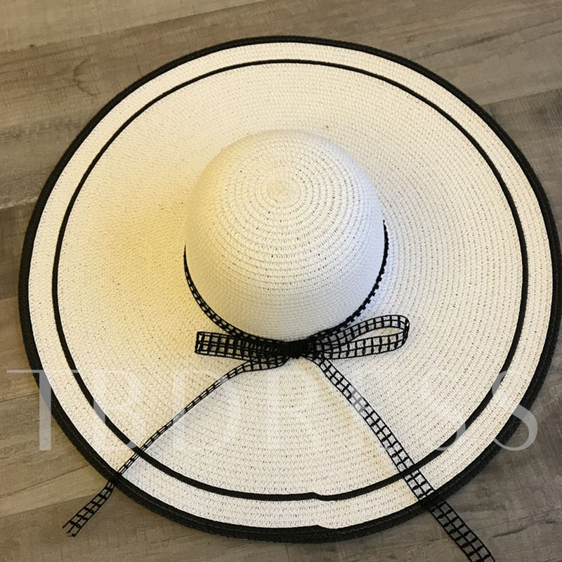 Straw Hat Straw Plaited Article Korean Color Block Hats