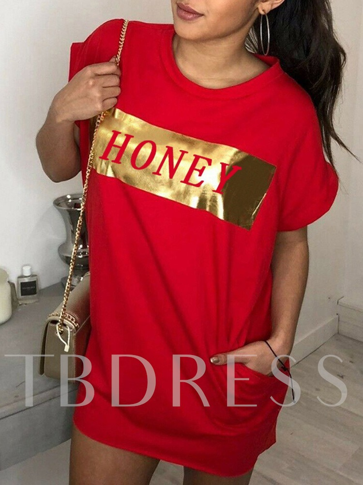 Loose Mid-Length Letter Print Straight Women's T-Shirt