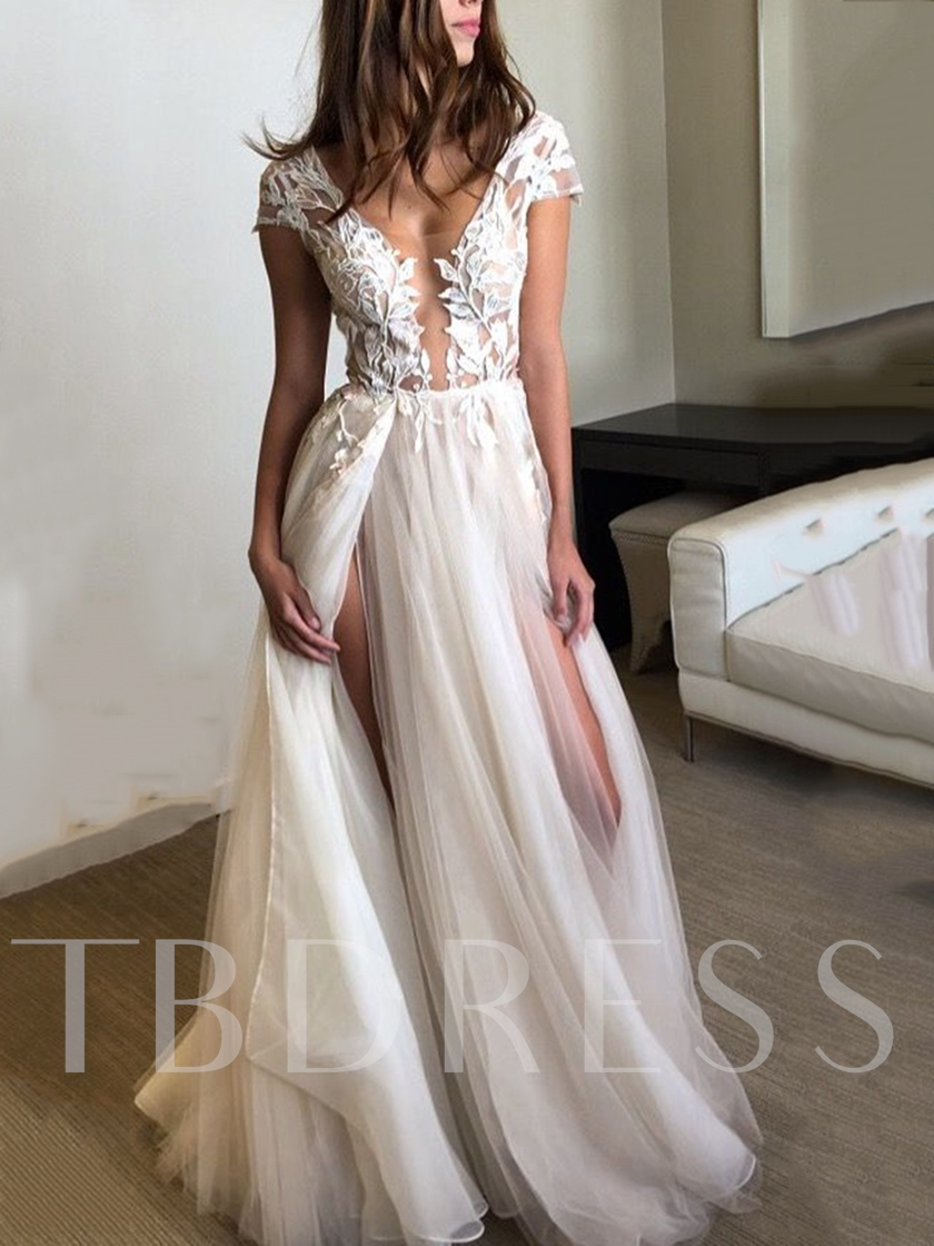 Cap Sleeves Appliques Split-Front Beach Wedding Dress 2019